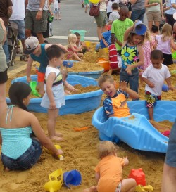 Playing in the sand at Beach Party Weekend in Leonardtown