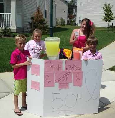Kids raise $50 for Breast Cancer selling lemonade