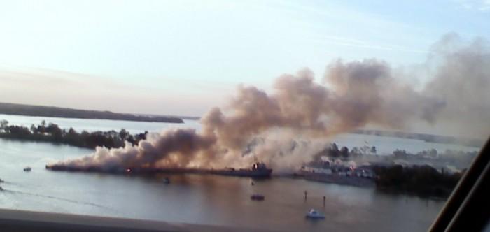 Navy Pier at Solomons Annex burns April 29, 2009.