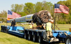 USS Arizona 14-inch gun barrel begins its move to Phoenix
