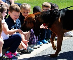 Children at the King's Christian Academy meet K9 Cooper