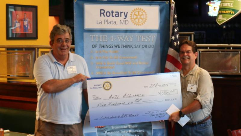 Arts Alliance Receives $500 Donation from the La Plata Rotary Club