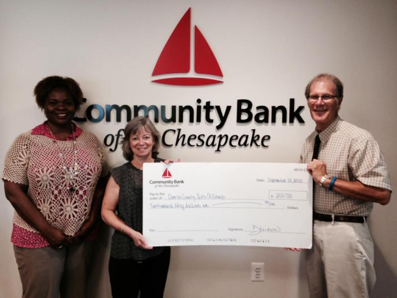 Arts Alliance Receives $250 Donation from Community Bank of the Chesapeake