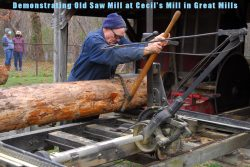 Demonstrating the old saw mill (American Sawmill Machinery Company #2) on 05-DEC-2020 at Cecil&# ...